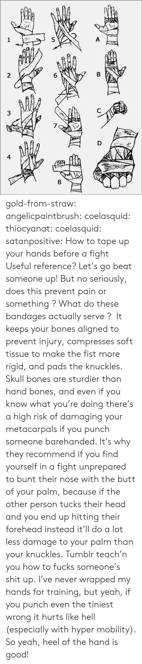 Bones, Butt, and Head: 8  6  5  3  4 gold-from-straw:  angelicpaintbrush:  coelasquid:  thiocyanat:  coelasquid:  satanpositive:  How to tape up your hands before a fight  Useful reference?  Let's go beat someone up! But no seriously, does this prevent pain or something ? What do these bandages actually serve ?   It keeps your bones aligned to prevent injury, compresses soft tissue to make the fist more rigid, and pads the knuckles. Skull bones are sturdier than hand bones, and even if you know what you're doing there's a high risk of damaging your metacarpals if you punch someone barehanded. It's why they recommend if you find yourself in a fight unprepared to bunt their nose with the butt of your palm, because if the other person tucks their head and you end up hitting their forehead instead it'll do a lot less damage to your palm than your knuckles.  Tumblr teach'n you how to fucks someone's shit up.   I've never wrapped my hands for training, but yeah, if you punch even the tiniest wrong it hurts like hell (especially with hyper mobility). So yeah, heel of the hand is good!