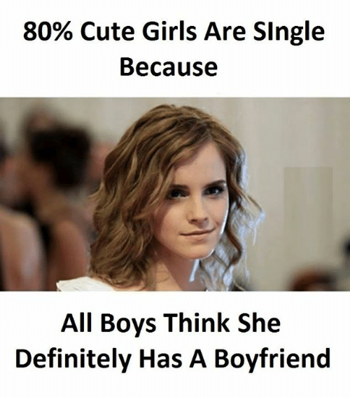 Cute, Definitely, and Girls: 80% Cute Girls Are SIngle  Because  All Boys Think She  Definitely Has A Boyfriend