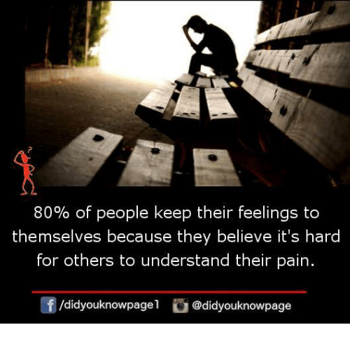 Memes, Pain, and 🤖: 80% of people keep their feelings to  themselves because they believe it's hard  for others to understand their pain.  didyouknowpagel