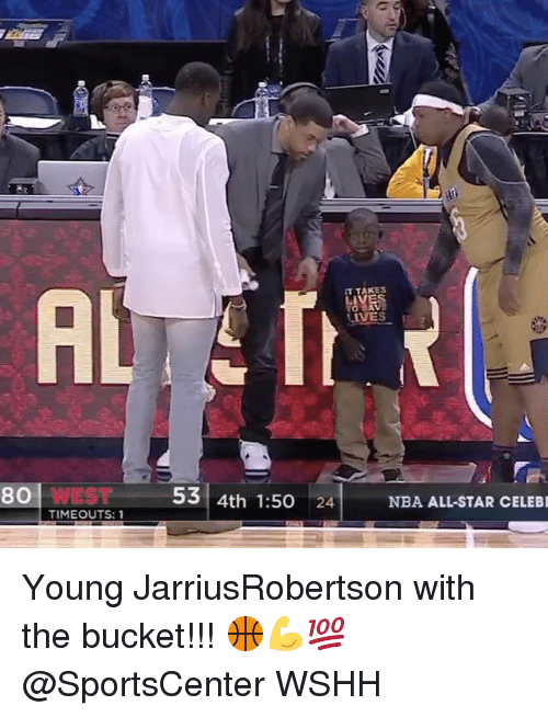 All Star, Memes, and Celebrated: 80 WEST  TIMEOUTS: 1  IT TAKES  53 4th 1:50  24  NBA ALL-STAR CELEBR Young JarriusRobertson with the bucket!!! 🏀💪💯 @SportsCenter WSHH