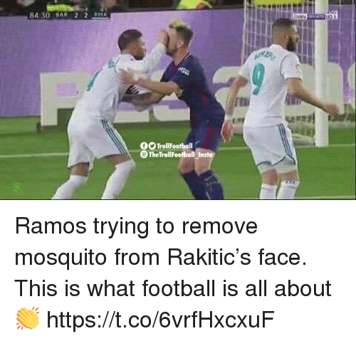 Football, Memes, and 🤖: 84:30 RA22 PA  OO TrollFootball  The TrollFootball Insta Ramos trying to remove mosquito from Rakitic's face. This is what football is all about 👏 https://t.co/6vrfHxcxuF