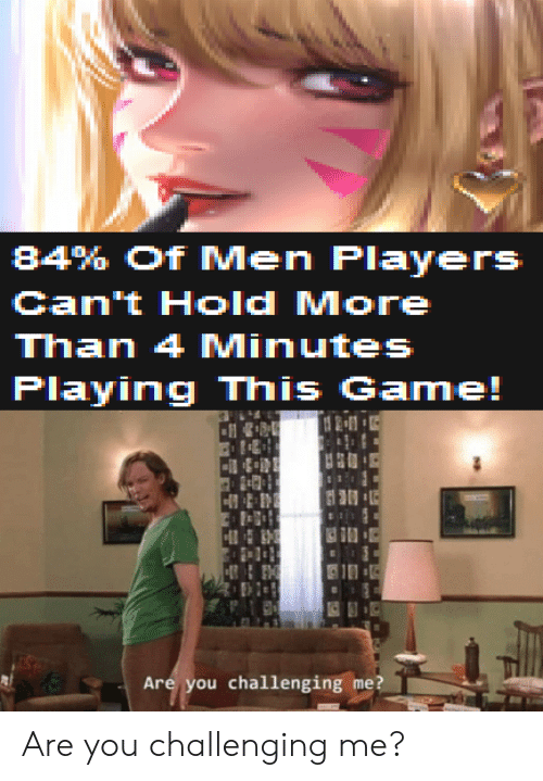 Game, You, and Hold: 84% of Men Players  Can't Hold More  Plaving This Game  Are you challenging me? Are you challenging me?