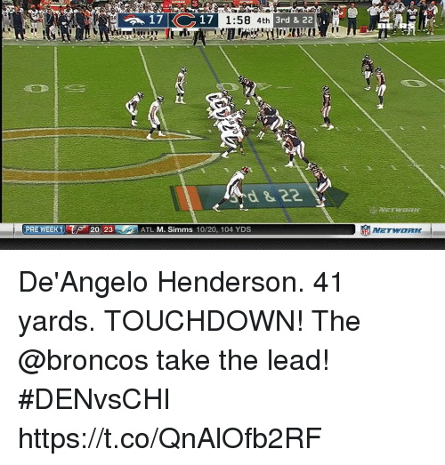 me.me: 85  17  1:58 4th  3rd & 2211 ,  38  BERXR  PRE WEEK 1 T sa 2023  罰ATL M. Simms 10/20, 104 YDS De'Angelo Henderson. 41 yards. TOUCHDOWN!  The @broncos take the lead! #DENvsCHI https://t.co/QnAlOfb2RF