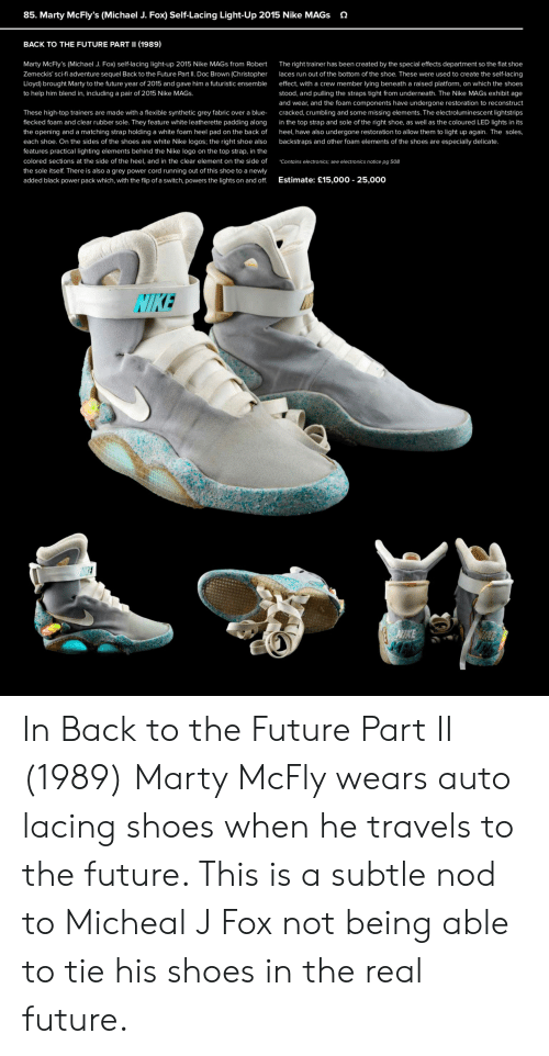 AIR MAG LIGHT UP STRAPS SET Marty Mcfly 2015 BACK TO FUTURE