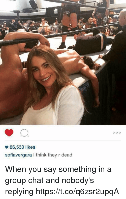 Group Chat, Chat, and Girl Memes: 86,530 likes  sofiavergara I think they r dead When you say something in a group chat and nobody's replying https://t.co/q6zsr2upqA