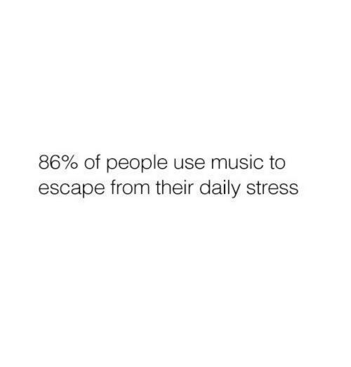 Music, Stress, and Use: 86% of people use music to  escape from their daily stress