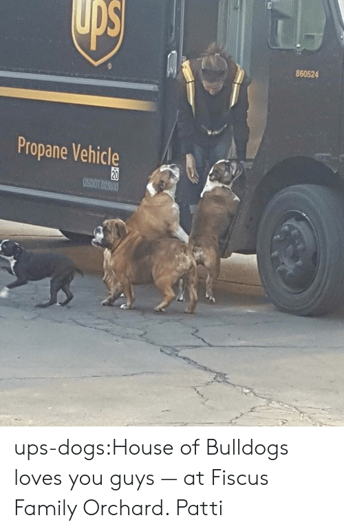 Dogs, Family, and Target: 860524  Propane Vehicle  20 ups-dogs:House of Bulldogs loves you guys — at Fiscus Family Orchard. Patti