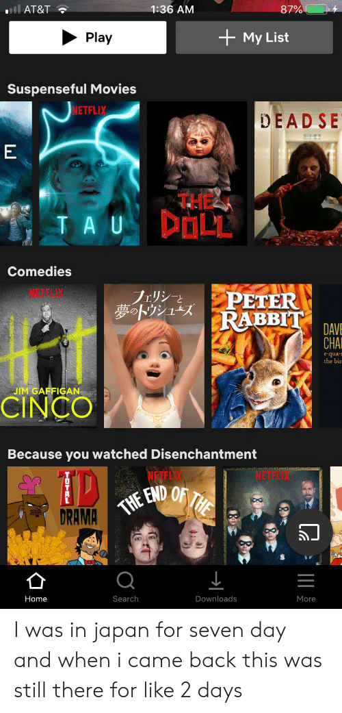 Movies, Netflix, and At&t: 87%  l AT&T  1:36 AM  My List  Play  Suspenseful Movies  NETFLIX  DEAD SE  E  THEZ  DOLL  TA U  Comedies  フェリシーと  夢トウシューズ  PETER  RABBIT  DAVE  CHA  equa  the bir  JIM GAFFIGAN  CINCO  Because you watched Disenchantment  DRAMA THE END OF THE  Home  Search  Downloads  More  O  TOTRL I was in japan for seven day and when i came back this was still there for like 2 days