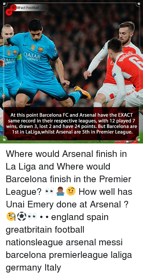 Arsenal, Barcelona, and England: 8Fact Football  AIRWATS  Er  At this point Barcelona FC and Arsenal have the EXACT  same record in their respective leagues, with 12 played 7  wins, drawn 3, lost 2 and have 24 points. But Barcelona are  1st in LaLiga,whilst Arsenal are 5th in Premier League. Where would Arsenal finish in La Liga and Where would Barcelona finish in the Premier League? 👀🤷🏾♂️🤨 How well has Unai Emery done at Arsenal ? 🧐⚽️👀 • • england spain greatbritain football nationsleague arsenal messi barcelona premierleague laliga germany Italy