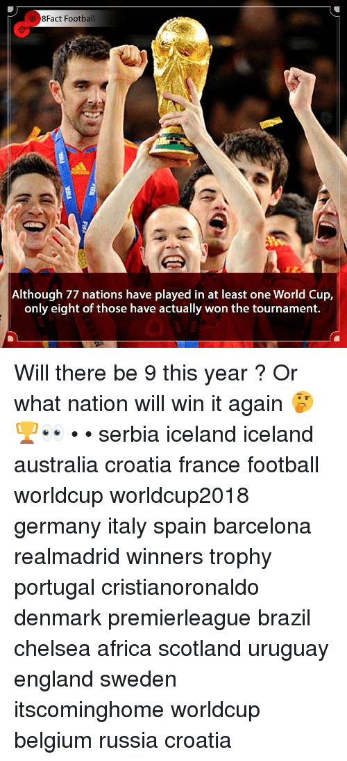 Africa, Barcelona, and Belgium: 8Fact Football  Although 77 nations have played in at least one World Cup,  only eight of those have actually won the tournament. Will there be 9 this year ? Or what nation will win it again 🤔🏆👀 • • serbia iceland iceland australia croatia france football worldcup worldcup2018 germany italy spain barcelona realmadrid winners trophy portugal cristianoronaldo denmark premierleague brazil chelsea africa scotland uruguay england sweden itscominghome worldcup belgium russia croatia