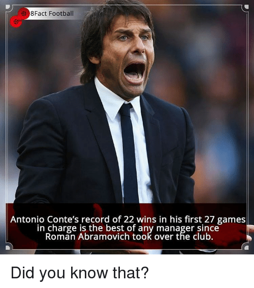 Memes, Roman, and Antonio Conte: 8Fact Football  Antonio Conte's record of 22 wins in his first 27 games  in charge is the best of any manager since  Roman Abramovich took over the club. Did you know that?