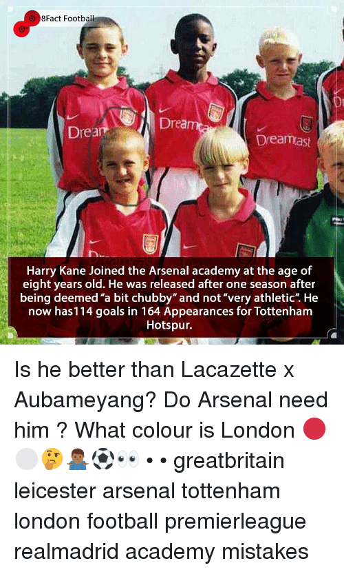 """Arsenal, Football, and Goals: 8Fact Football  Drea  Drea  Dreamast  Harry Kane Joined the Arsenal academy at the age of  eight years old. He was released after one season after  being deemed """"a bit chubby"""" and not""""very athletic"""". He  now has114 goals in 164 Appearances for Tottenham  Hotspur. Is he better than Lacazette x Aubameyang? Do Arsenal need him ? What colour is London 🔴⚪️🤔🤷🏾♂️⚽️👀 • • greatbritain leicester arsenal tottenham london football premierleague realmadrid academy mistakes"""