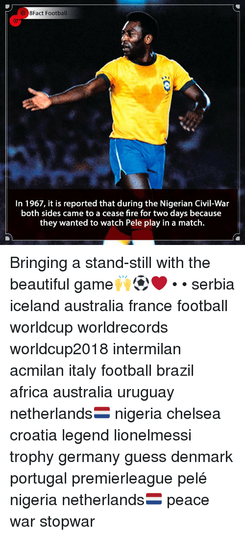 Africa, Beautiful, and Chelsea: 8Fact Football  In 1967, it is reported that during the Nigerian Civil-War  both sides came to a cease fire for two days because  they wanted to watch Pele play in a match. Bringing a stand-still with the beautiful game🙌⚽️❤️ • • serbia iceland australia france football worldcup worldrecords worldcup2018 intermilan acmilan italy football brazil africa australia uruguay netherlands🇳🇱 nigeria chelsea croatia legend lionelmessi trophy germany guess denmark portugal premierleague pelé nigeria netherlands🇳🇱 peace war stopwar