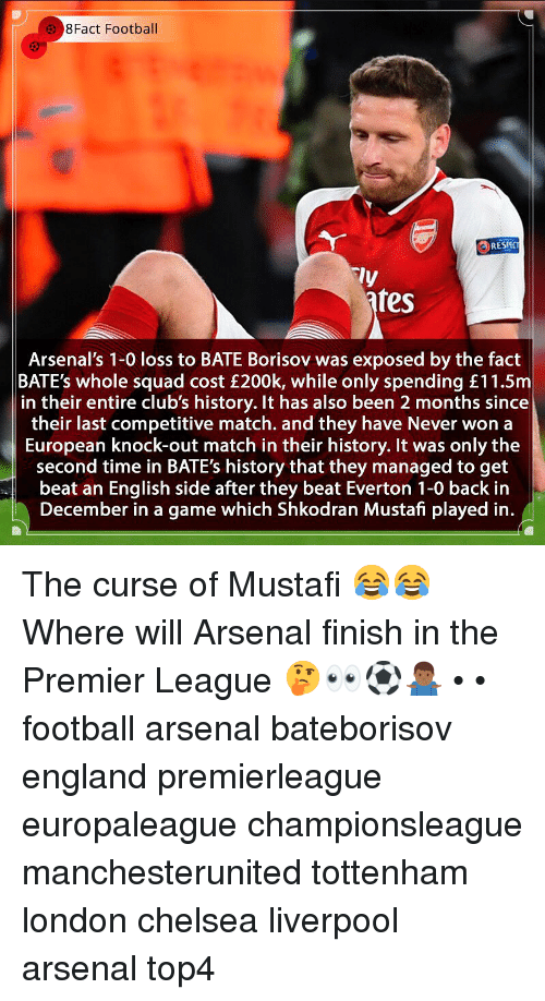 Arsenal, Chelsea, and England: 8Fact Football  RESPC  ly  fes  Arsenal's 1-0 loss to BATE Borisov was exposed by the fact  BATE's whole squad cost £200k, while only spending £11.5m  in their entire club's history. It has also been 2 months since  their last competitive match. and they have Never won a  European knock-out match in their history. It was only the  second time in BATE's history that they managed to get  beat an English side after they beat Everton 1-0 back in  December in a game which Shkodran Mustafi played in. The curse of Mustafi 😂😂 Where will Arsenal finish in the Premier League 🤔👀⚽️🤷🏾♂️ • • football arsenal bateborisov england premierleague europaleague championsleague manchesterunited tottenham london chelsea liverpool arsenal top4
