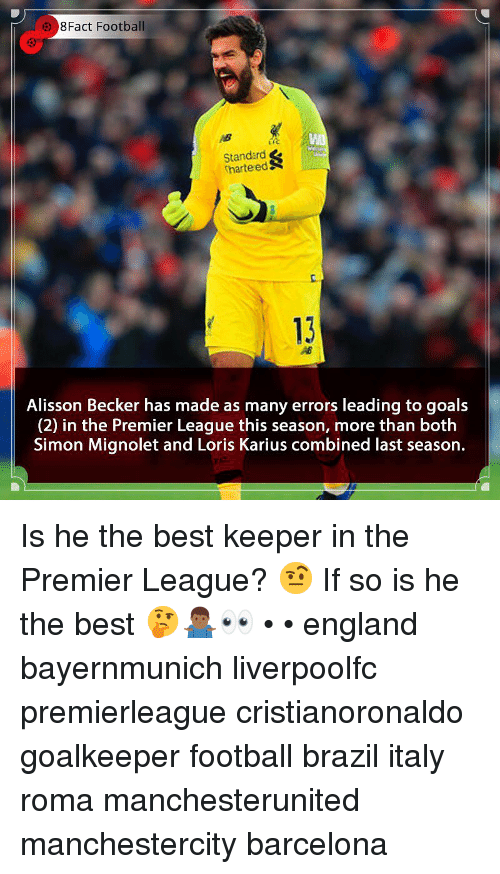Barcelona, England, and Football: 8Fact Football  Standard  harteedS  c.  13  Alisson Becker has made as many errors leading to goals  (2) in the Premier League this season, more than both  Simon Mignolet and Loris Karius combined last season. Is he the best keeper in the Premier League? 🤨 If so is he the best 🤔🤷🏾‍♂️👀 • • england bayernmunich liverpoolfc premierleague cristianoronaldo goalkeeper football brazil italy roma manchesterunited manchestercity barcelona