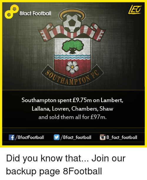 Memes, 🤖, and Backup: 8fact Football  THAMPTO  Southampton spent m on Lambert,  Lallana, Lovren, Chambers, Shaw  and sold them all for E97m.  OO  8fact football 8 fact football Did you know that...  Join our backup page 8Football
