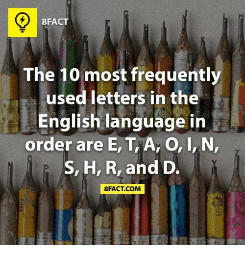 8FACT the 10 Most Frequently Used Letters in the English Language