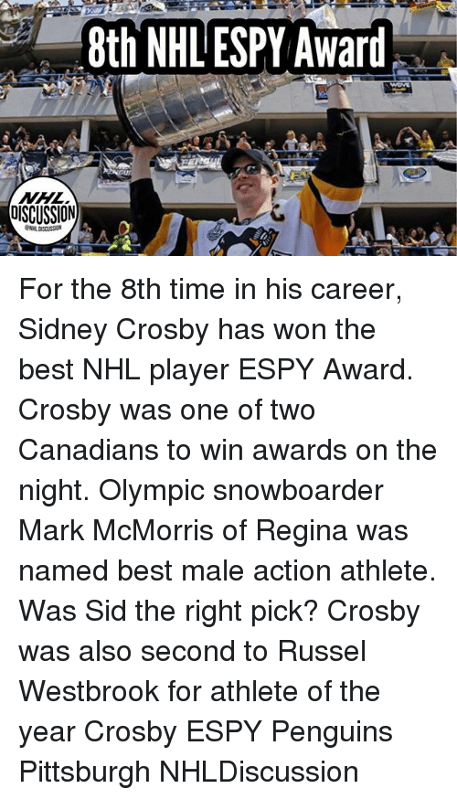 Memes, National Hockey League (NHL), and Sid: 8th NHL ESPY Award . For the 8th time in his career, Sidney Crosby has won the best NHL player ESPY Award. Crosby was one of two Canadians to win awards on the night. Olympic snowboarder Mark McMorris of Regina was named best male action athlete. Was Sid the right pick? Crosby was also second to Russel Westbrook for athlete of the year Crosby ESPY Penguins Pittsburgh NHLDiscussion