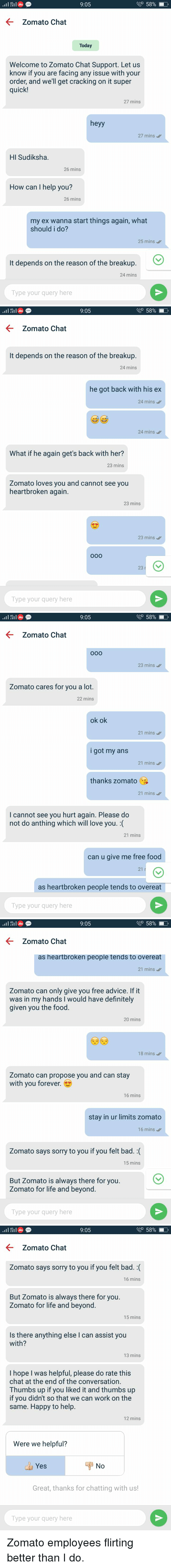 Advice, Bad, and Definitely 905 58% Zomato Chat Today Welcome