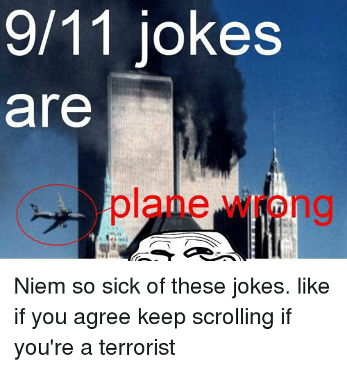 9/11, Memes, and 🤖: 9/11 jokes  are Niem so sick of these jokes.