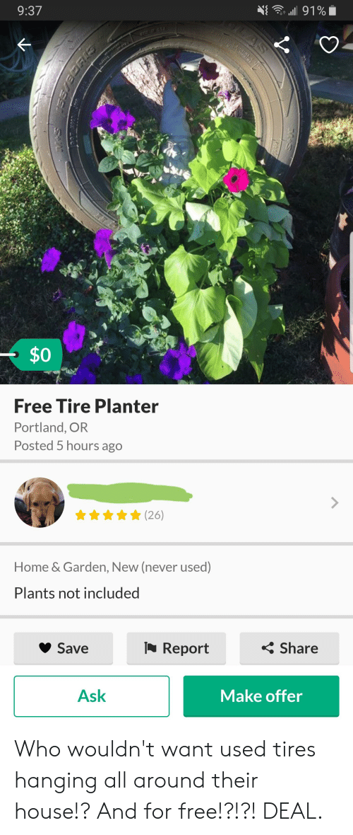 Used Tires Portland >> 937 0 Free Tire Planter Portland Or Posted 5 Hours Ago Home