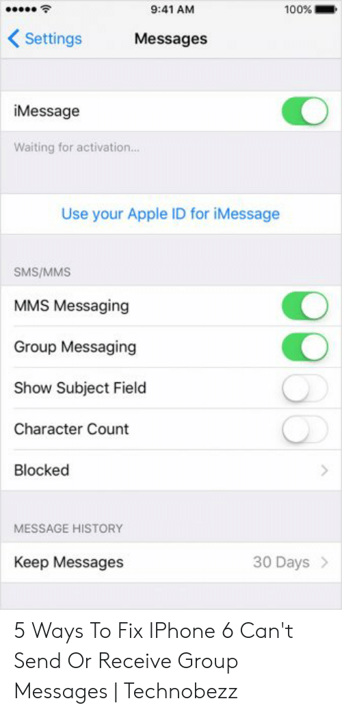 941 AM 100% Settings Messages iMessage Waiting for Activation Use