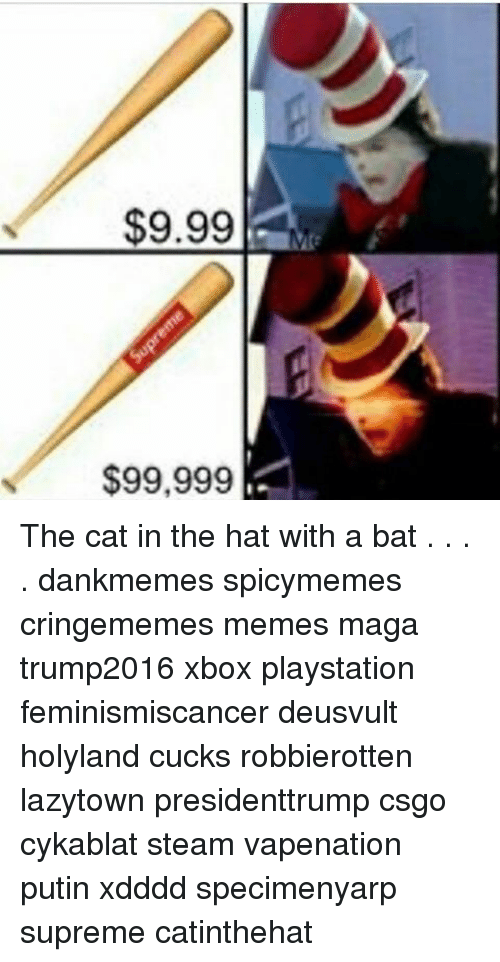 Cat In The Hat With A Baseball Bat Memes