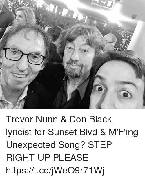 Memes, Black, and Sunset: 9 Trevor Nunn & Don Black, lyricist for Sunset Blvd & M'F'ing Unexpected Song? STEP RIGHT UP PLEASE https://t.co/jWeO9r71Wj