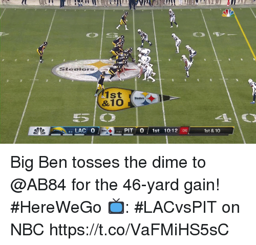 Memes, Steelers, and 🤖: 90  1st  Steelers  LAC O  731 PIT 0 1st 10:12 :06  1st & 10  8-3 Big Ben tosses the dime to @AB84 for the 46-yard gain! #HereWeGo  📺: #LACvsPIT on NBC https://t.co/VaFMiHS5sC