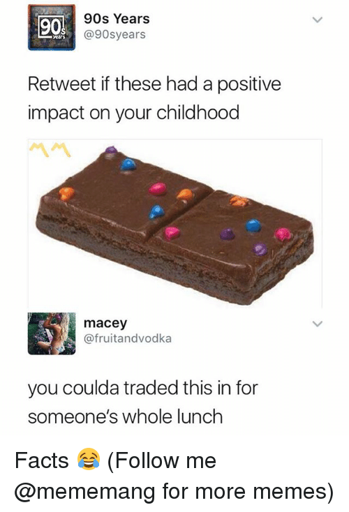 Facts, Memes, and Dank Memes: 90  90s Years  @90syears  ears  Retweet if these had a positive  impact on your childhood  macey  @fruitandvodka  you coulda traded this in for  someone's whole lunch Facts 😂 (Follow me @mememang for more memes)