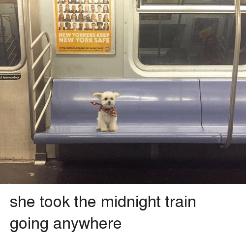 Lean, New York, and Train: 90  NEW YORKERS KEEP  NEW YORK SAFE  t lean on door <p>she took the midnight train going anywhere<br/></p>