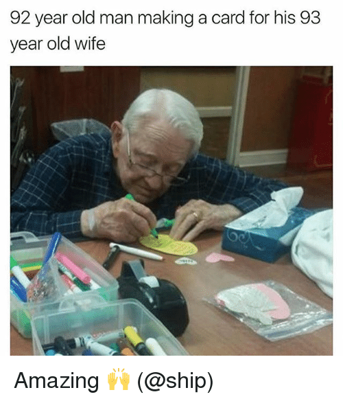 92 Year Old Man Making a Card for His 93 Year Old Wife