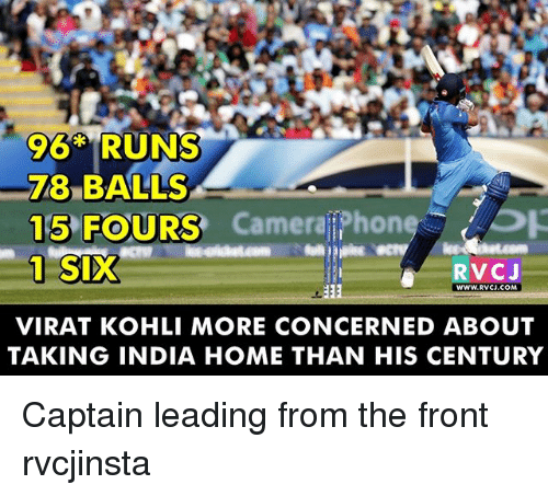 Memes, Home, and India: 96* RUNS  BALLS  Camerali hone OR  15 FOURS  1 SIX  RVC J  WWW RVCU COM  VIRAT KOHLI MORE CONCERNED ABOUT  TAKING INDIA HOME THAN HIS CENTURY Captain leading from the front rvcjinsta