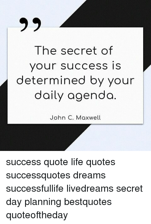 99 The Secret Of Your Success Is Determined By Your Daily Agenda