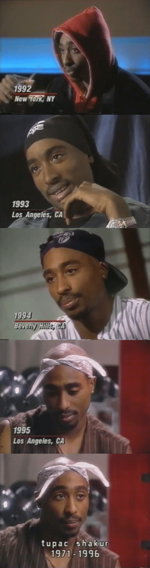 New York, Tupac Shakur, and Los Angeles: 992  New York NY   1993  Los Angeles, CA   1994   1995  Los Angeles, CA   tupac shakur  1971-1996