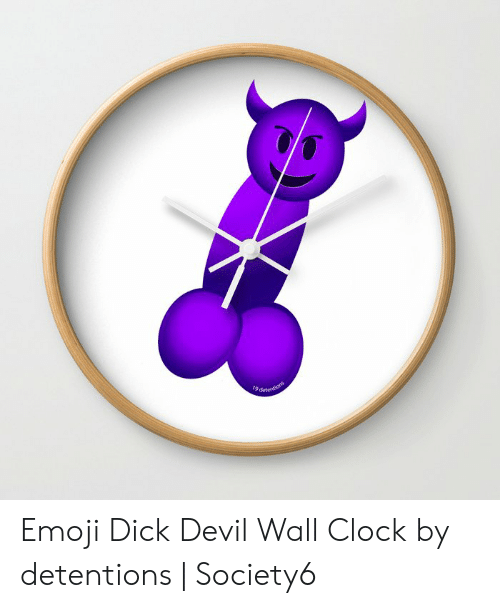 9detentio Emoji Dick Devil Wall Clock by Detentions