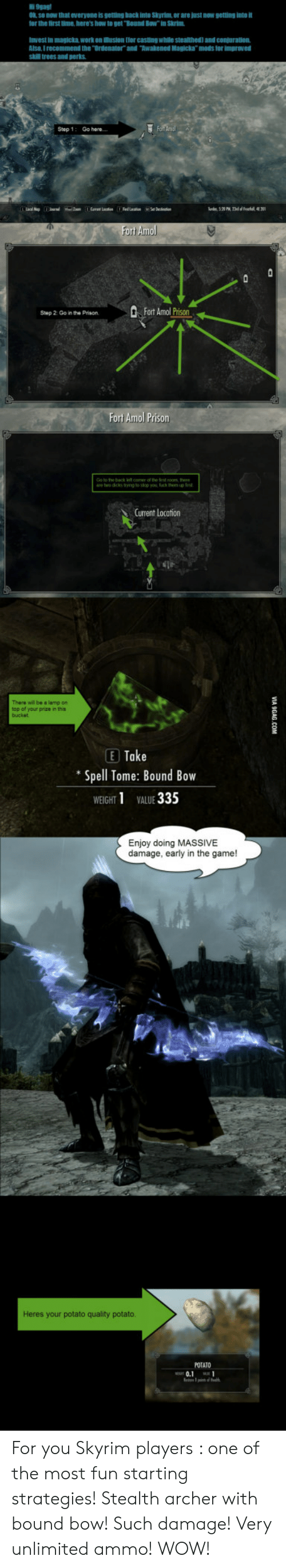 """9gag, Skyrim, and The Game: 9gag  K se now that everyone is getting back inte Skyrim, or are just now getting into  or the first time here's how to get Bound Bow"""" in Skrim  Invest in magicka work on ilusion [or casting while stealthed) and conjuration  Alse, I recommend the Ordenator and Awakened Magicka mods for improved  skill trees and perks  Step 1  Go here  fort Amol  2 0o a the PrisonFort Amol Prison  Fort Amol Prison  are two dicks tying to sop  Fuck he ups  Current Location  There wll be a lamp on  op of your prize in this  E Take  Spell Tome: Bound Bow  WEGHT1 VALUE 335  Enjoy doing MASSIVE  damage, early in the game!  Heres your potato quality potato  POTATO  0.1 For you Skyrim players : one of the most fun starting strategies! Stealth archer with bound bow! Such damage! Very unlimited ammo! WOW!"""