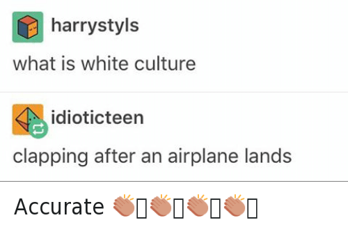 Accurate 👏🏻👏🏻👏🏻👏🏻: @tank.sinatra  @harrystyls  what is white culture   @ idioticteen  clapping after an airplane lands Accurate 👏🏻👏🏻👏🏻👏🏻