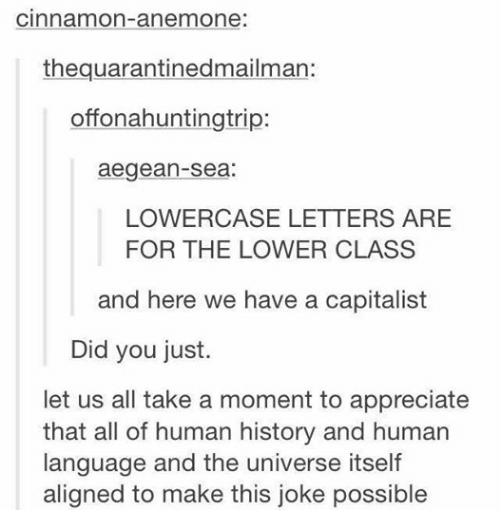 Funny, Tumblr, and Appreciate: Cinnamon-anemone:  the quarantinedmailman:  offonahuntingtrip:  aegean-Sea:  LOWERCASE LETTERS ARE  FOR THE LOWER CLASS  and here we have a capitalist  Did you just.  let us all take a moment to appreciate  that all of human history and human  language and the universe itself  aligned to make this joke possible