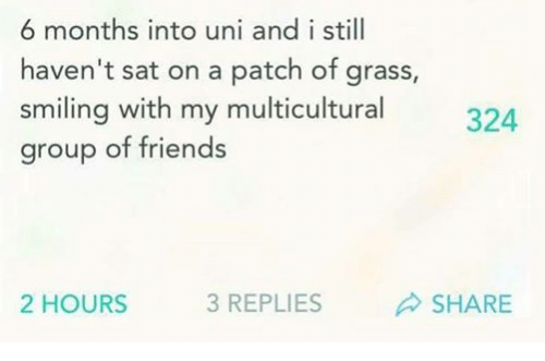 6 months into uni and i still haven t sat on a patch of grass