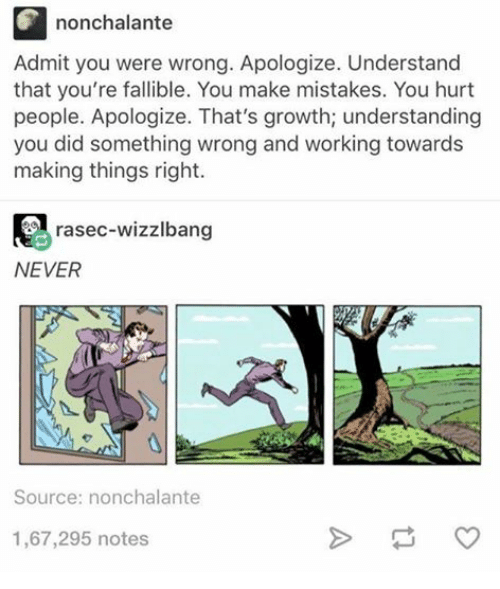 Work, Humans Of Tumblr, And Mistakes: Nonchalante Admit You Were Wrong.  Apologize