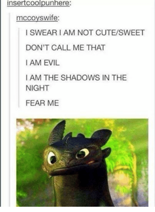 Cute, Humans of Tumblr, and Evil: insertCoolpunhere  mccoyswife:  I SWEAR I AM NOT CUTE/SWEET  DON'T CALL ME THAT  I AM EVIL  I AM THE SHADOWS IN THE  NIGHT  FEAR ME