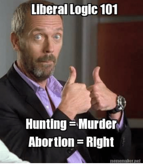 Logic, Hunting, and Abortion: Liberal Logic 101  Hunting Murder  Abortion Right  mememakerunet