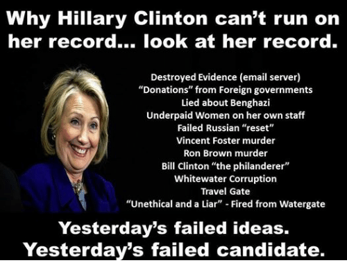 Facebook 75da05 why hillary clinton can't run on her record look at her record