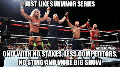 Wrestling, World Wrestling Entertainment, and Survivor: JUST LIKE SURVIVOR SERIES  BT  STUNGMEMES  ONY WWITH NOSTAKES LESSACOMPETITORS.  NOSTINGAAND MORE  BIG SHOW