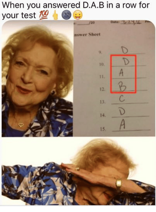Facebook 848dc0 when you answered dab in a row for your test 20 nswer sheet test