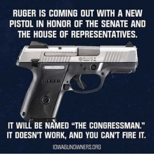 """Fire, Work, and House: RUGER IS COMING OUT WITH A NEW  PISTOL IN HONOR OF THE SENATE AND  THE HOUSE OF REPRESENTATIVES.  IT WILL BE NAMED THE CONGRESSMAN.""""  IT DOESNT WORK, AND YOU CANT FIRE IT.  IOWAGUNOWNERSORG"""