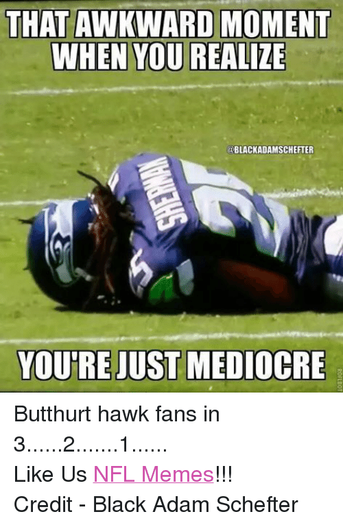Butthurt, Mediocre, and Meme: THAT AWKWARD MOMENT  WHEN YOU REALIZE  ODBLACKADAMSCHEFTER  YOURE JUST MEDIOCRE Butthurt hawk fans in 3......2.......1...... Like Us NFL Memes!!! Credit - Black Adam Schefter