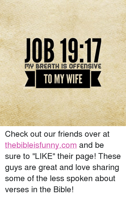 """Friends, Love, and Bible: JOB 19:17  My BREA THIS OFFENSIVE  TO MY WIFE Check out our friends over at thebibleisfunny.com and be sure to """"LIKE"""" their page! These guys are great and love sharing some of the less spoken about verses in the Bible!"""