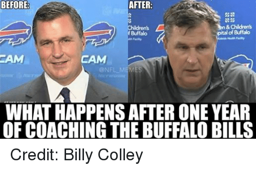 Children, Meme, and Memes: BEFORE:  AFTER  In&Children's  pital of Buffalo  f Buffalo  @NFL MEMES  WHAT HAPPENS AFTER ONE YEAR  OF COACHING THE BUFFALO BILLS Credit: Billy Colley